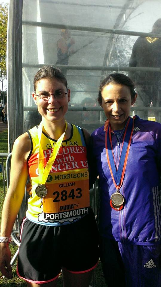 Gillian Pryor with Jo Pavey following the Great South run.